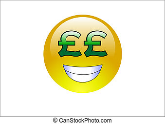 Aqua Emoticons - Pound SignsMoney - An emoticon with a greed...