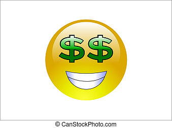 Aqua Emoticons - Dollar Signs