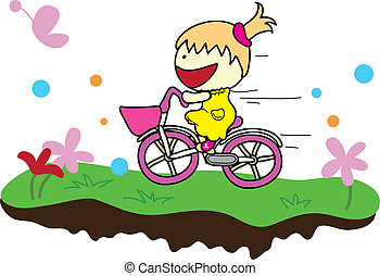 girl with bicycle - smiling girl ridding a bicycle in a...