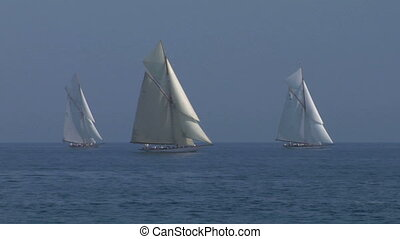 old sail 12 - Old sailing boat in Mediterranean Sea during a...