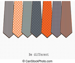 Be different - Vector art. Set  of different ties. Vintage