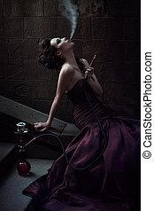 hermoso, mujer, violeta, Vestido
