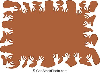 hands - abstract hands page frame border background