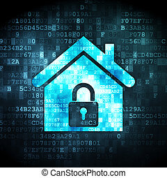 Security concept: home on digital background - Security...
