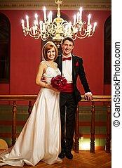 美麗, 他們, 夫婦, 天, 婚禮