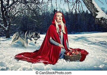 atrás, capucha, lobo, rojo, ella