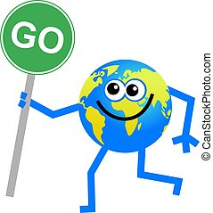 go globe - conceptual cartoon globe man holding a go sign