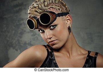 Close-up portrait of a steam punk girl