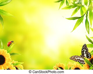 Green leaves at sunny day - Spring concept