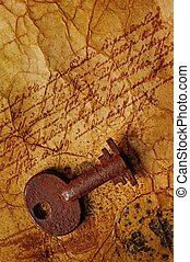 The old key on the textured paper