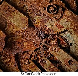 Close-up of an ancient gears mechanism