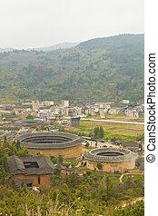 Tulou, Historyczny, umiejscawiać, Fujian, Porcelana,...