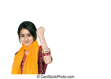 indian girl isolated on white