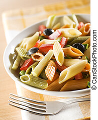 pasta - colorful pasta with pepper, pumpkin and black olive...