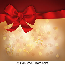 Holiday background with red bow and light stars....