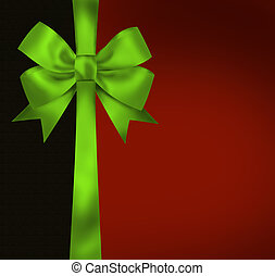 Christmas card with green bow on black red background. Illustration