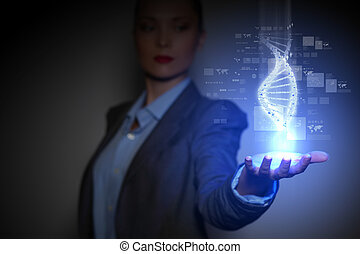 DNA Strand - DNA science background with business person on...