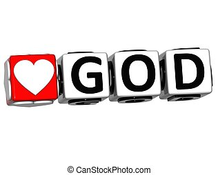 3D Love God Button Click Here Block Text over white...
