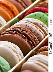 Macaron, fond noir, Confiserie - close up shot of various...