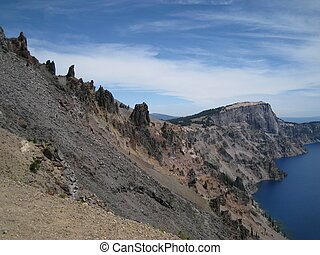 Caldera - Lava formations on the caldera of Crater Lake...