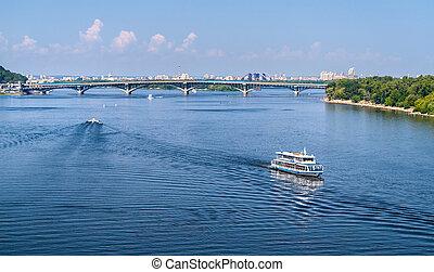 View of Dnieper river and Metro bridge in Kiev, Ukraine