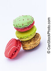 Macaron, fond blanc, Confiserie - close up shot of various...