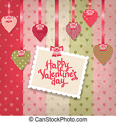 Retro background of vintage design with hearts