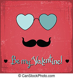 Valentine card with glasses, heart and mustache