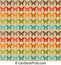Seamless pattern with butterflies in retro style.