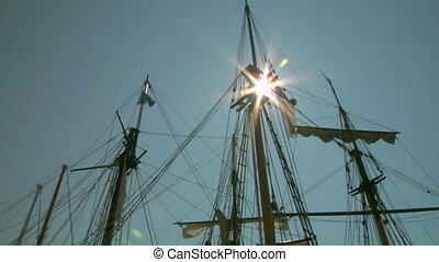 old sail mast 06 - Mast of old sailing ship