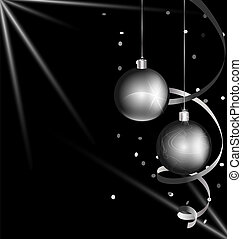 black-white color of Christmas - on black background are...