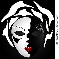 black-white mask - on an dark background is a large...