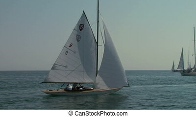 old sail regatta 01 - Old sailing boat in Mediterranean Sea...