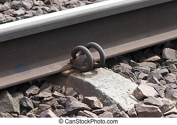 Lock on Rail Track - close up to Lock on Rail Track