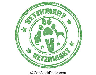 Veterinary stamp - Grunge rubber stamp with word veterinary...