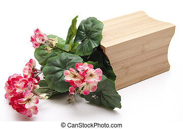 Geranium   - Geranium in the wooden container