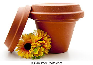 Plant pot with straw flower