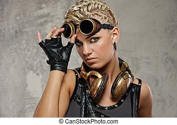 Close-up of attractive steam punk girl