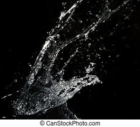 Stylish water splash Isolated on black background