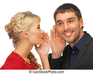 man and woman spreading gossip - bright picture of man and...