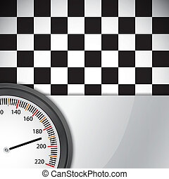 Checkered flag with metal frame