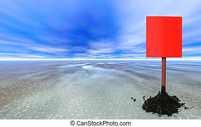 red blank sign post on an abstract planet