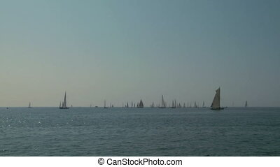 old sail regatta 02 - Old sailing boat in Mediterranean Sea...