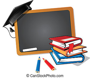 Back to School - Stack of books with a blackboard and a...