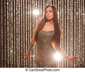 Beautiful brunette in a night club