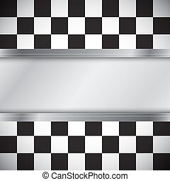 Checkered flag with frame - Checkered flag with metal frame