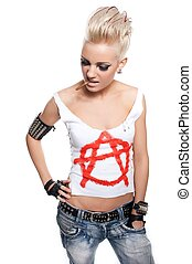 Punk girl with a cigarette