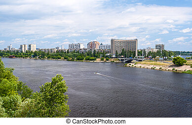 View of Rusanivka, one of Kiev residential communities...