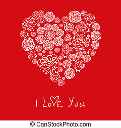 vector red Valentine's Day Card with flower hearts