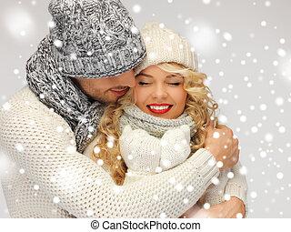 familia, pareja, invierno, ropa
